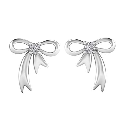 925 Sterling Silver W/ 0.12 Ct Natural Diamond Bow Tie Stud Earrings Sweet Gift For Girls (G-H Color, I1-I2 Clarity) (white-gold-plated-silver) ()