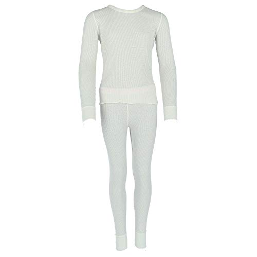 Hanes Girl's Waffle Knit Thermal Underwear Set, Large, Snow White