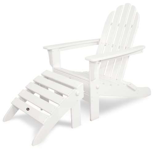 Trex Outdoor Furniture TXS116-1-CW Cape Cod 2-Piece Folding Adirondack Seating Set, Classic White