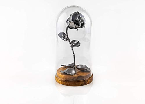 - ♥ Eternal Rose of Wrought Iron Beauty and the Beast with fallen petals and in glass dome on wooden base