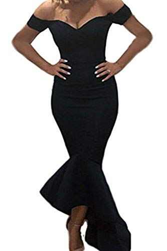 (Astylish Womens Evening Dress Off Shoulder Flouncing Mermaid Formal Prom Gowns Small Black)