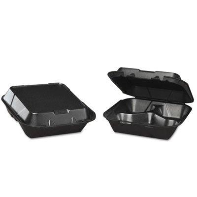 GENPAK, LLC Snap-It Foam Hinged Carryout Container, 3-Comp, Black, 8-1/4x8x3,100/bg, 2 - Gen Snap