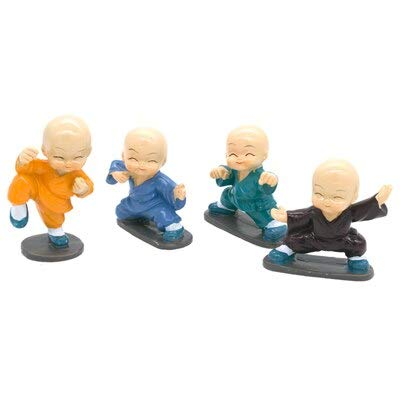 Figures - Resin Little Gongfu Monk Figurine Kung Fu Shaolin Monk Statue Office Car Dolls Decor Car Toy Accessories - by GTIN - 1 Pcs - Ceramic Fish Figurine -