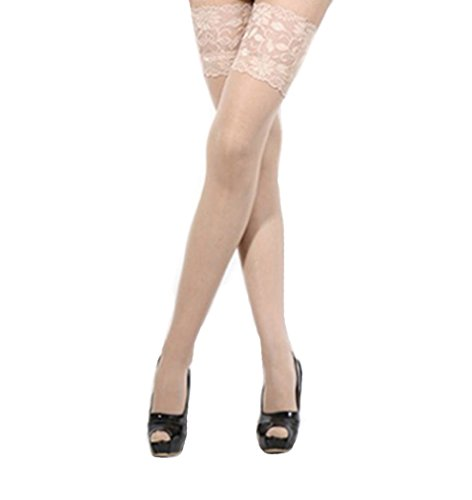 Honeystore Women's Lace Top Sheer Thigh Hi Silk Stocking Stay-up Over Knee Sock -one size,nude