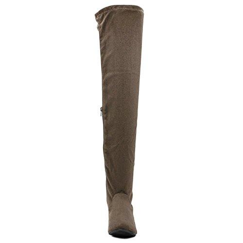 ShoBeautiful Frauen Oberschenkel Hohe Flache Stiefel Stretchy Kordelzug Mode Overknee Stiefel Taupe Wildleder