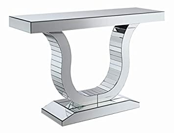 Coaster Home Furnishings 930010 Coaster Contemporary U Shaped Base Silver Console Table with Mirrored Panels, 47.25 L x 14 W x 31.5 H,