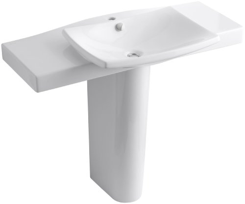 Kohler K-18691-1-0 Escale Pedestal Lavatory with Single-Hole Faucet Drilling, White - Faucet Holes Pedestal