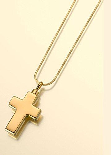 Gold Vermeil Cross - Small Gold Vermeil Cross Cremation Pendant Attractive Black Velvet Gift Box