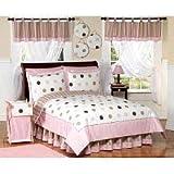 Pink and Brown Modern Dots Childrens Bedding 4 Piece Girls Twin Set
