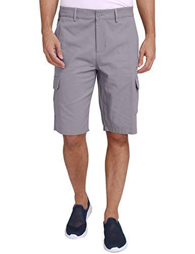 (CAMEL CROWN Cargo Shorts for Men Classic Fit Twill Cotton Casual Work Shorts with Multi Pockets Outdoor Hiking Khaki Grey Black Grey 38)