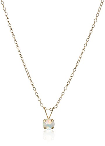 Girl's 14k Yellow Gold Created Opal Birthstone Pendant Necklace, 15