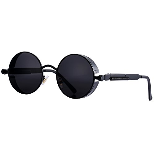 Pro Acme Gothic Steampunk Sunglasses for Men Women Metal Frame Round Lens (Black Lens/Black - Sunglasses Style Steampunk