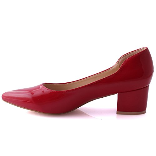 Unze Women Ally Ladies Block Heel Party Patent Soiree Slip-on Casual Mid-Low Pump Court UK Size 3-8 Red GZTbwU0FGw