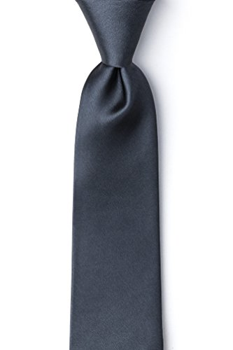 Charcoal Silk Extra Long Tie | Charcoal Extra Long Necktie - Charcoal Grey Necktie