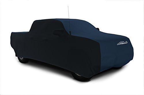 Coverkingカスタムフィット車のカバーRam 1500モデル–サテンストレッチ(ダークブルー、ブラックサイド)