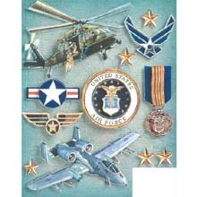 Military Grand Adhesions Embellishments-Air Force