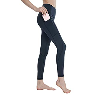 Cupocupa High Waisted Workout Leggings with Pockets for Women Tummy Control;Women's Yoga Pants with Pockets 101Navy Blue-XL