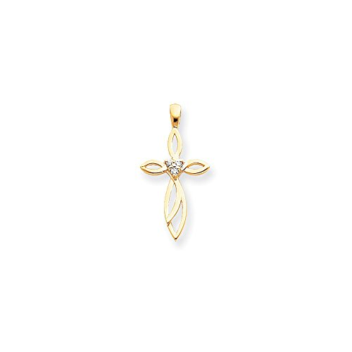 14k Yellow Gold Diamond Cross Religious Pendant Charm Necklace Fancy Fine Jewelry Gifts For Women For ()