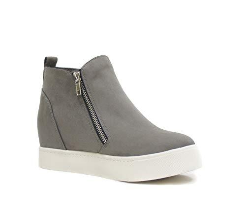 SODA Taylor Hidden Fahsion Wedge Sneaker Shoes Side Zipper,Grey,6.5
