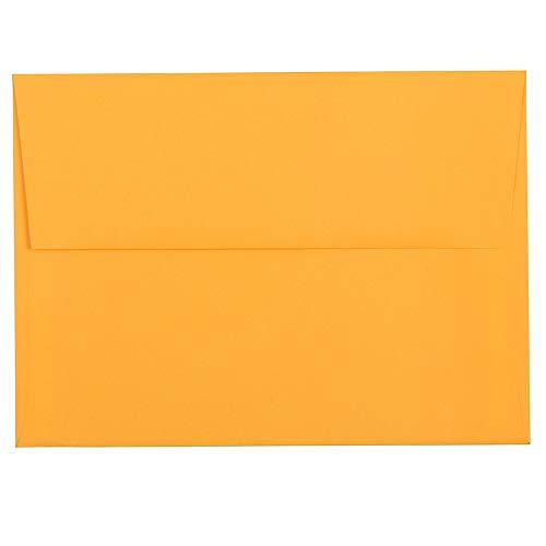 JAM PAPER A7 Colored Invitation Envelopes - 5 1/4 x 7 1/4 - Ultra Orange - 25/Pack -