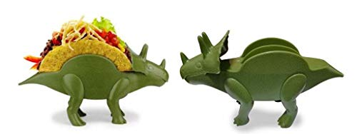 Triceratops Dinosaur Taco Holder, Best for Jurassic Taco Tuesdays and Dinosaur Parties, Perfect gift for Kids, Adults who Love Jurassic World, Nacho Snacks Serving Dishes Kitchen Accessory (2 Pack)]()
