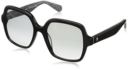 Kate Spade Women's Katelee/s Square Sunglasses, Black Silver Glitter/Gray Gradient, 54 mm