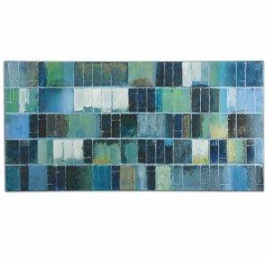 Uttermost 34300 Glass Tiles Modern Art, Blue