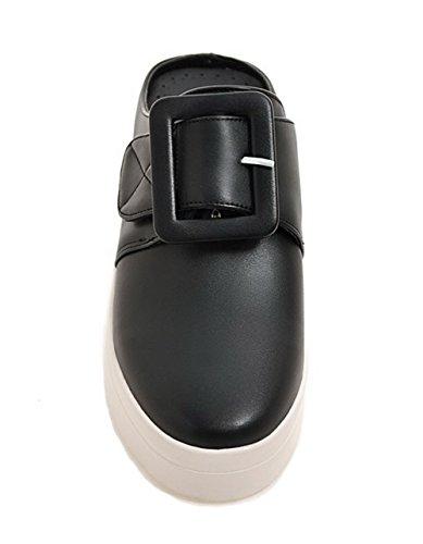 AgooLar Damen Niedriger Absatz PU Rein Ziehen auf Rund Zehe Pumps Schuhe Schwarz