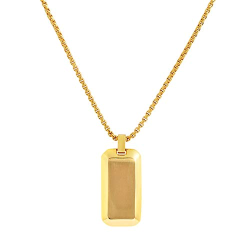 (Geoffrey Beene Stainless Steel Men's Angled Edges Dog Tag Necklace, Gold)
