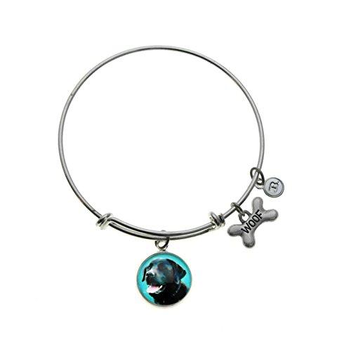 Black Lab Charm - Top Dogs Black Lab Labrador Retriever Charm Silver Plated Adjustable Bangle Bracelet