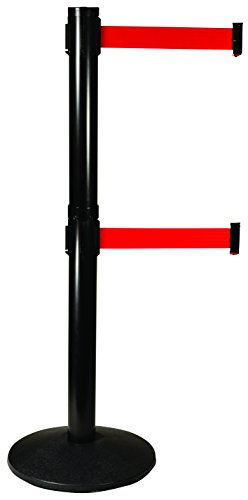 (Visiontron 301D-BA-RD Dual Line Post w/ 10' Retracta-Belt, Black with Red Belt)