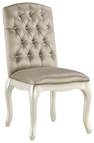 Ashley Furniture Signature Design – Cassimore Upholstered Chair – Diamond Tufted Back w Faux Crystals – Silvertone Finish – Made of Wood