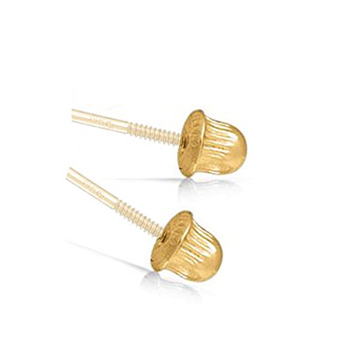14k Yellow Gold Earring Back Replacement Pair Screw-Back Clutch Unique Fit for Art And Molly Brand Earrings (yellow-gold) by Art and Molly