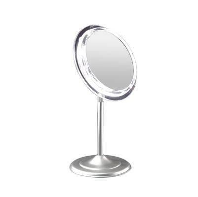 Zadro Adjustable Pedestal Vanity In Satin Nickel with 7X Magnification, Satin Nickel Finish, 9 (Framed Pedestal)