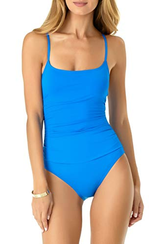 (Anne Cole Women's Shirred Classic Lingerie One Piece Swimsuit, New Blue, 12)