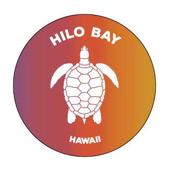 R and R Imports Hilo Bay Hawaii 4 Inch Round Decal Sticker Turtle Design