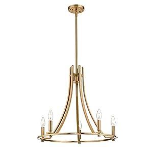 Emliviar Industrial Chandelier Light Fixture, 6-Light Large Pendant Lighting for Entryway in Gold Finish, 010-6B