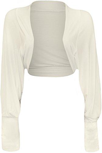 WearAll Womens Batwing Shrug Long sleeve Bolero Cardigan - Cream - US 4-6 (UK 8-10)