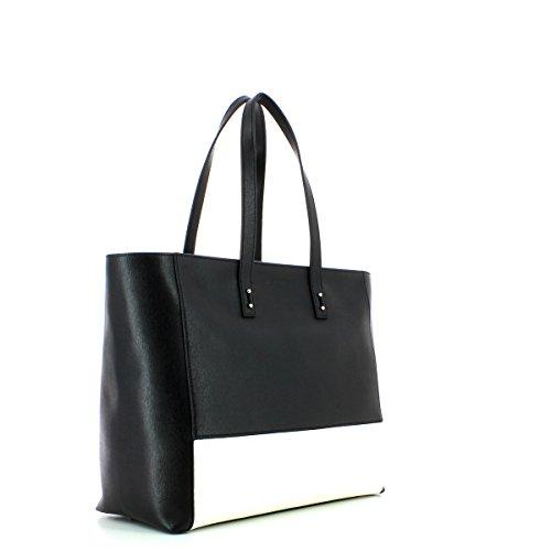 Coccinelle Borsa Shopping pelle saffiano inserto bicolore Nero / Bianco