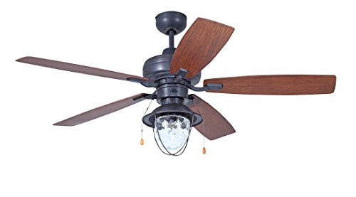 Litex E-C52ABZ5C1 Lukins Indoor/Outdoor Ceiling Fan with Five Reversible Walnut/Teak ABS Blades and Single Light Kit with Clear Glass, 52-Inch