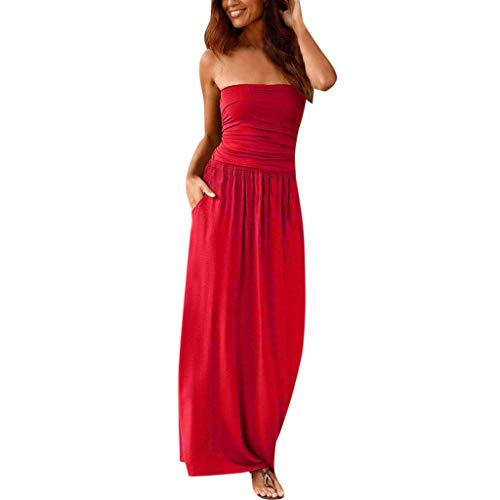 Womens Bandeau Dress,Cenglings Ladies Off Shoulder Sleeveless Maxi Dress Casual Beach Ruched Solid Dress Party Gown Red ()