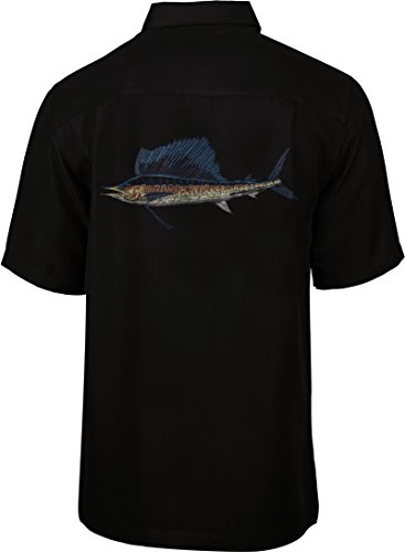 Hook & Tackle Men's Sailfish Embroidered Short Sleeve Fishing Shirt Black Large