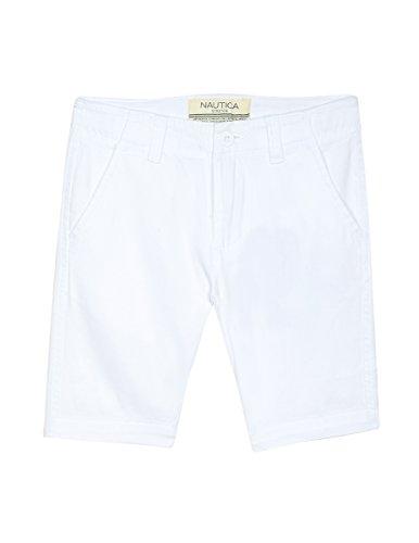 Nautica Big Boys' Flat Front Short, Felton White, 12