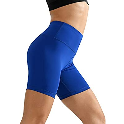Cadmus Women's High Waist Workout Running Compression Shorts with Pocket: Clothing