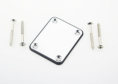 Neck Plate with Plastic Cushion and Mount Screws for Electric Guitar Jazz Bass, Chrome