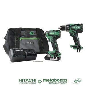 Hitachi KC18DBFL2S 18V Cordless Brushless Lithium Ion Hammer Drill & Impact Driver Combo Kit
