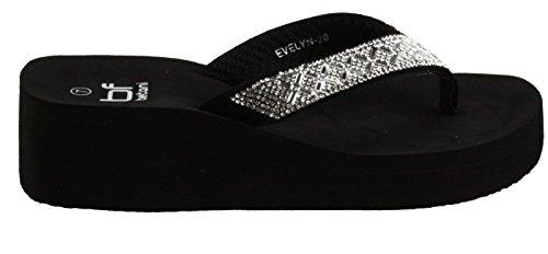 Betani Womens Evelyn-20 Platform EVA Foam Flip Flop Thong Wedge Beach Sandals Black c5lBxlhc