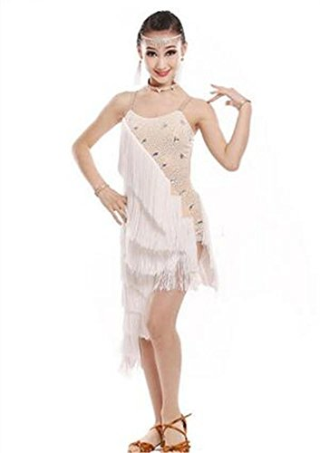 dance dance 110cm white show de dance danse de professionnelle dance show shining danse long Robe show latine XqxIfAag