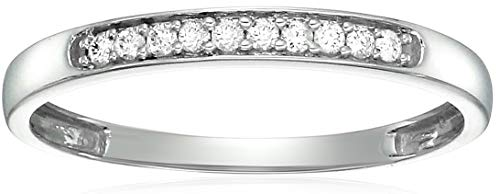 Vir Jewels 1/10 cttw Diamond Wedding Band in 10K White Gold In Size 10 (Rings Gold Diamond In)
