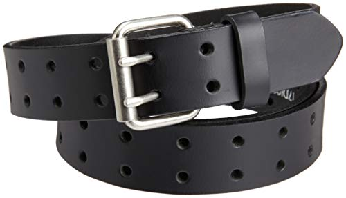 Dickies Work Belt for Men - Leather with Double Prong Buckle for Jeans and Heavy Duty Construction,Black,42